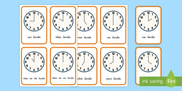 Te karaka haora Flashcards - karaka, matawa, clock, hour, time, wā, Te Reo Maori,