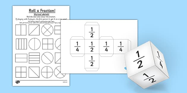 Year 1 Roll a Fraction Activity Sheet Polish Translation - polish, activities, fractions, worksheet