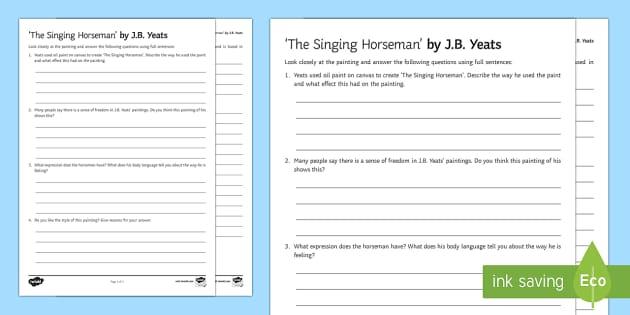 The Singing Horseman Art Appreciation Activity Sheet - Irish Art Resources, art strands, display resources, worksheet, art appreciation, activity sheet, ar
