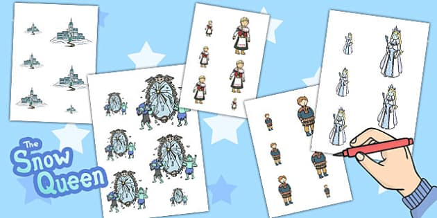 The Snow Queen Size Ordering - traditional, tales, worksheets