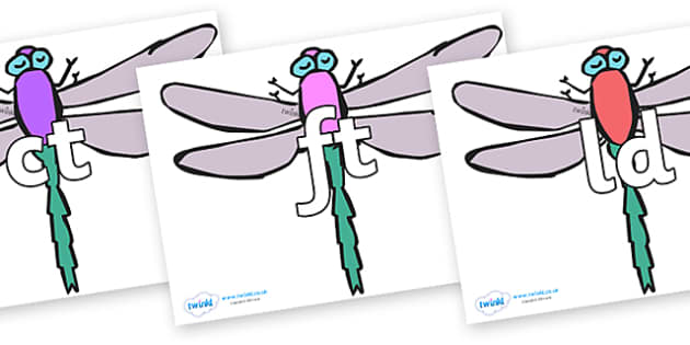 Final Letter Blends on Dragonflies - Final Letters, final letter, letter blend, letter blends, consonant, consonants, digraph, trigraph, literacy, alphabet, letters, foundation stage literacy