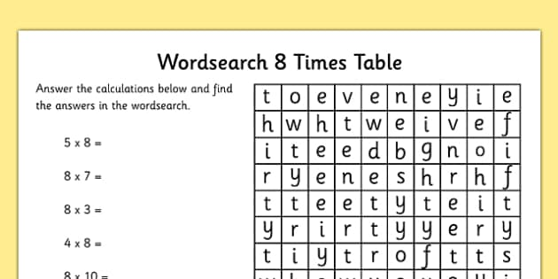 Multiplication 8 Times Tables Word Search Worksheet