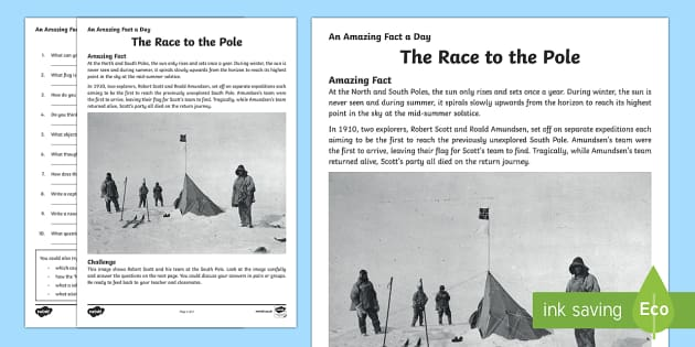 The Race to the Pole Activity Sheet - Amazing Fact Of The Day, activity sheets, powerpoint, starter, morning activity, December, south pol