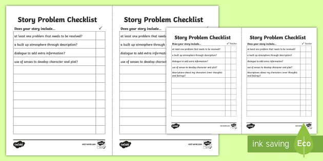 Story Problem Checklist - story checklist, story writing checklist, writing problems in stories, story problems, story writing, creative writing, ks2