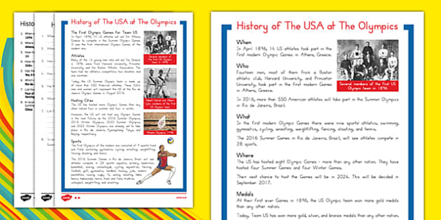 A History of the USA at the Olympics Differentiated Reading Comprehension Activity