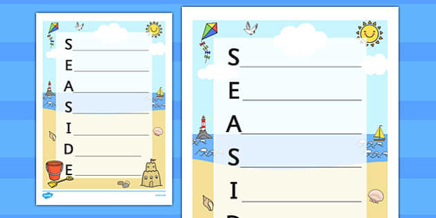 Seaside Acrostic Poem Template - seaside, seaside acrostic poem, seaside poem template, seaside poem, at the seaside, seaside literacy, beach, acrostic