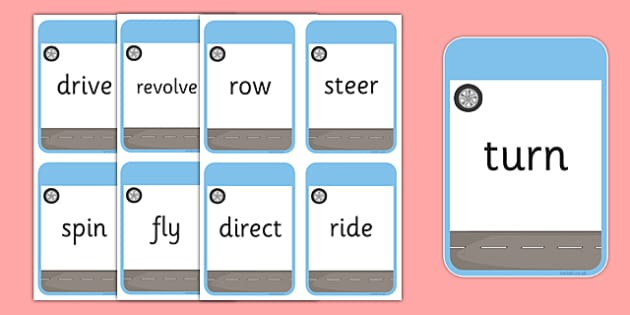 Transport Themed Verb Action Cards - verb action cards, verb, action, activity, cards, transport