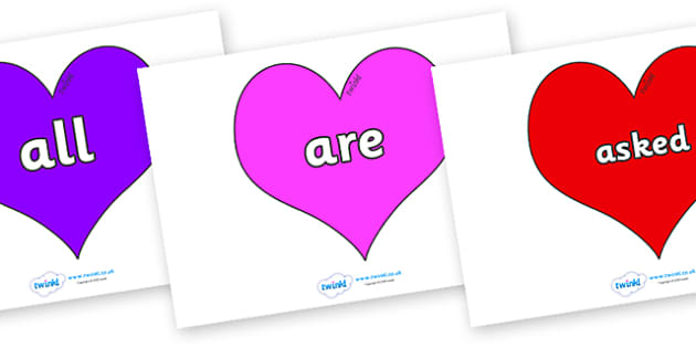 Tricky Words on Hearts (Multicolour) - Tricky words, DfES Letters and Sounds, Letters and sounds, display, words