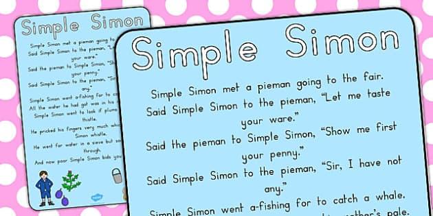 Simple Simon Nursery Rhyme Poster - australia, simon, rhyme