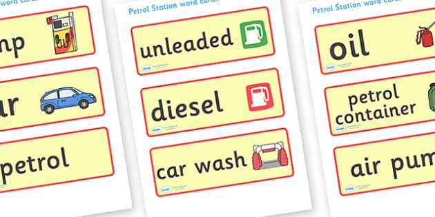 Petrol Station Word Cards - petrol station, cars, cars, word card, flashcards, cards, oil, pump, petrol, air pump, unleaded, diesel, car wash, flowers, snacks, newspapers