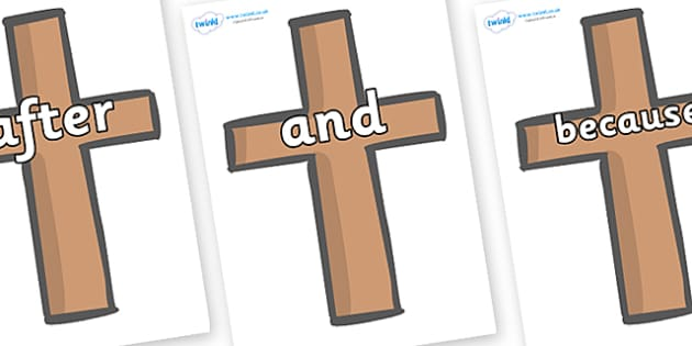 Connectives on Crosses - Connectives, VCOP, connective resources, connectives display words, connective displays