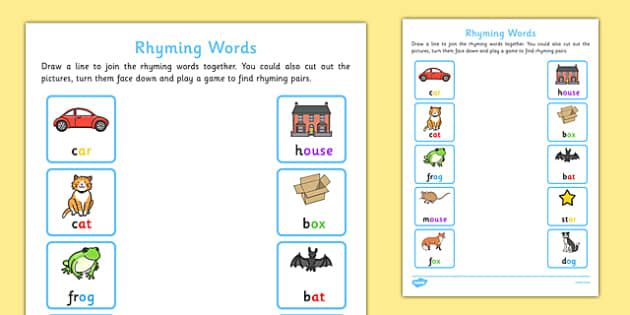 Worksheets Rhyming Words Reception Class rhyming words home learning activity sheet eyfs early years phonics letters and