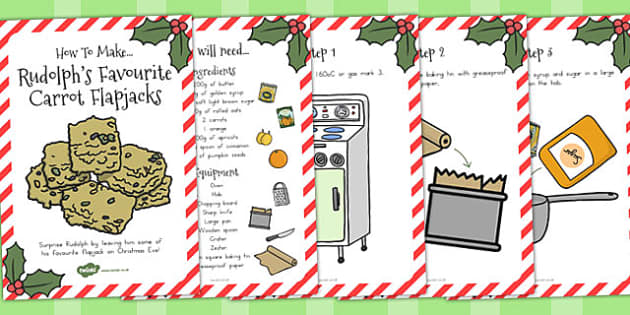 Rudolphs Favourite Carrot Flapjacks Recipe Cards - australia