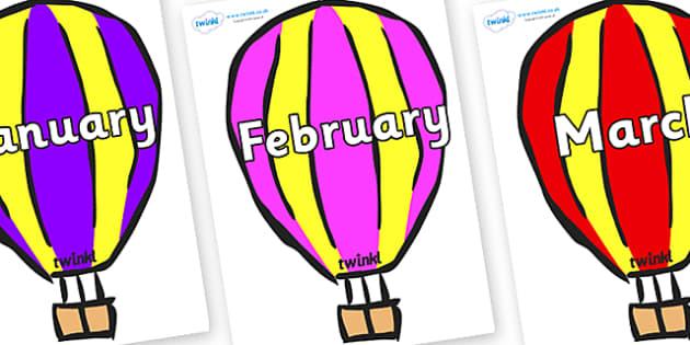 Months of the Year on Hot Air Balloons (Multicolour) - Months of the Year, Months poster, Months display, display, poster, frieze, Months, month, January, February, March, April, May, June, July, August, September