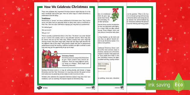 How We Celebrate Christmas Differentiated Fact File - Christmas, Nativity, Jesus, xmas, Xmas, Father Christmas, Santa, traditions, decorations, food, true