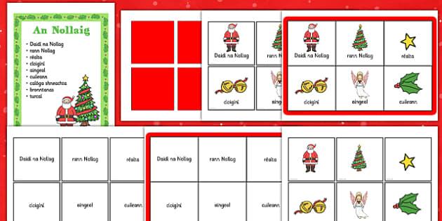 An Nollaig Bingo Gaeilge - roi, irish, gaeilge, gaeilge, an nollaig, bingo, vocabulary, focl