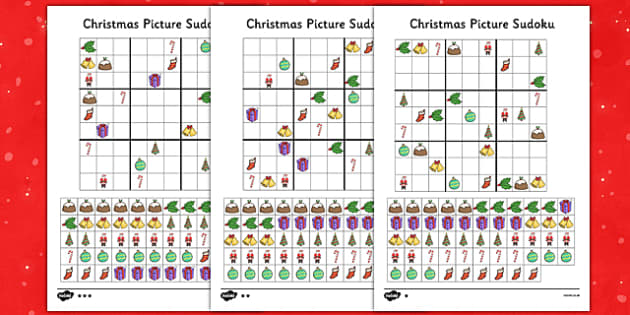 Differentiated Christmas Picture Sudoku 9x9 - differentiated, christmas, picture, sudoku, 9x9