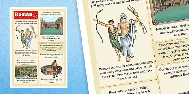 Roman Facts Poster - romans, facts about romans, roman facts, ancient rome, romans poster, ancient rome poster, history poster, history display, ks2