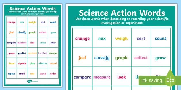 Science Action Words Display Poster - science week, science, action words, verbs, investigations, experiments, recording, skills, doing wo