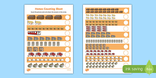 Houses and Homes Counting up to 20 Activity Sheet, worksheet