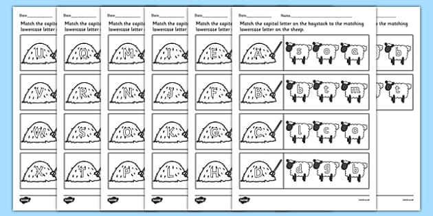 Farm Capital Letters Matching Worksheet - farm animals, uppercase