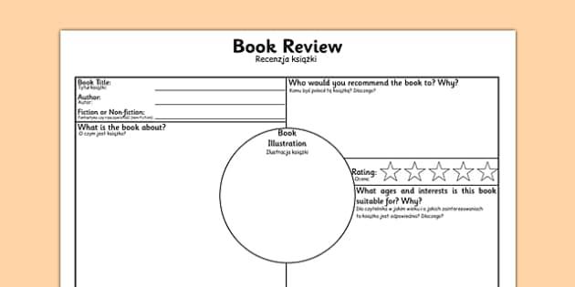 Book Review Worksheet Polish Translation - polish, book review, book review sheet, writing a book review, book review template, book review writing frame, ks2 literacy, reading