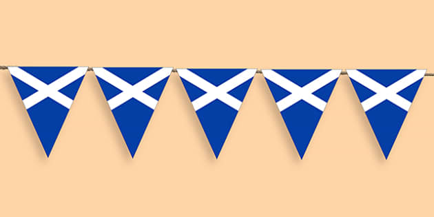 Scottish Flag Bunting - scottish flag, flag bunting, scotland, scotish bunting, classroom bunting, classrom decoration, scotish themed bunting
