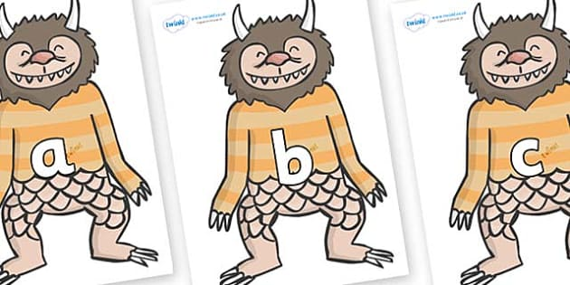 Phase 2 Phonemes on Wild Thing (1) to Support Teaching on Where the Wild Things Are - Phonemes, phoneme, Phase 2, Phase two, Foundation, Literacy, Letters and Sounds, DfES, display