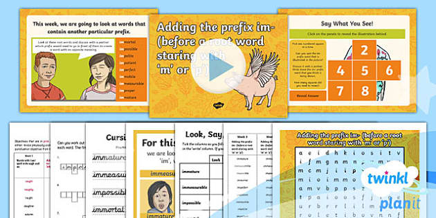 PlanIt Y4 Term 1A W3: Im- Prefixes Spelling Pack