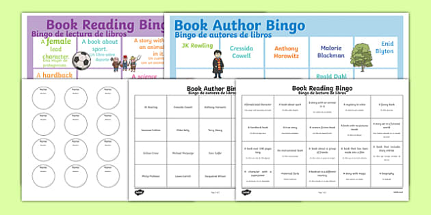 Book Reading Bingo Spanish Translation - spanish, Book bingo, bingo, authors, childrens authors, morpurgo, roald dahl, Rowling, science fiction, genres, scifi, reading