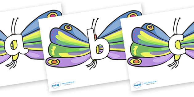 Phoneme Set on Beautiful Butterflies to Support Teaching on The Very Hungry Caterpillar - Phoneme set, phonemes, phoneme, Letters and Sounds, DfES, display, Phase 1, Phase 2, Phase 3, Phase 5, Foundation, Literacy