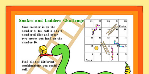 A4 KS1 Snakes and Ladders Maths Challenge Poster - maths poster