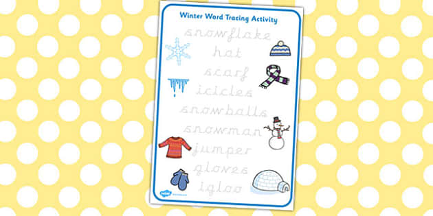 Winter Words Tracing Activity - winter, words, tracing, activity