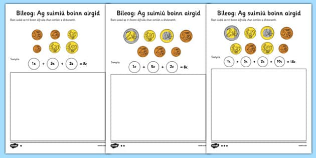 Adding Coins Worksheet Gaeilge - roi, republic, ireland, irish, euro, euros, money, addition, add, calculate, activity, workseet, maths