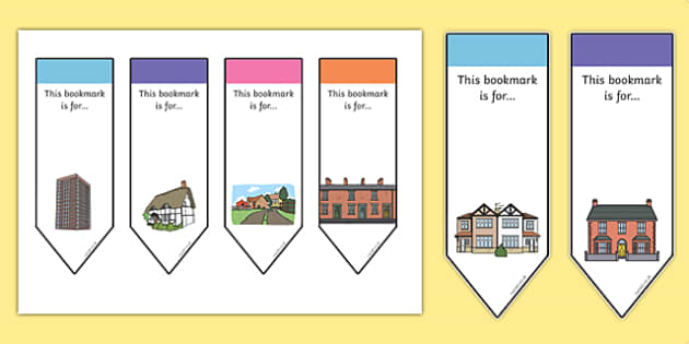 Houses and Homes Bookmarks - house, home, books, read, reading