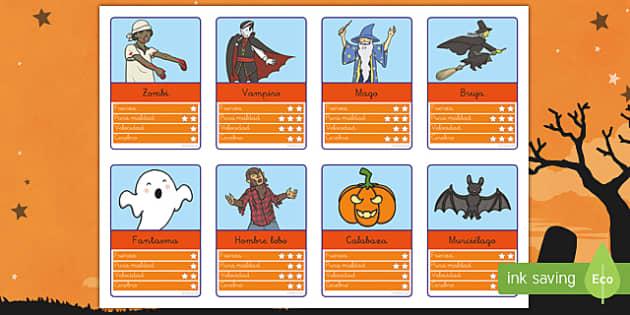 Halloween tarjetas de juego