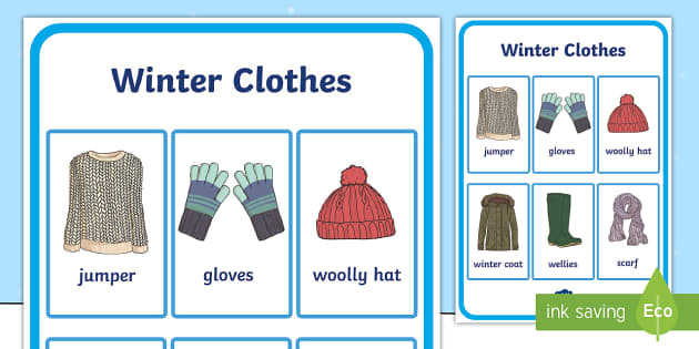 Winter Clothes Vocabulary Poster - winter clothes, vocabulary poster, winter, clothes