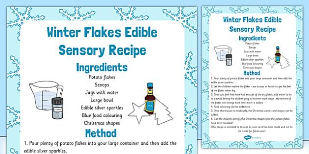 Winter Flakes Edible Sensory Recipe - winter flakes, edible, sensory, recipe, cook, food