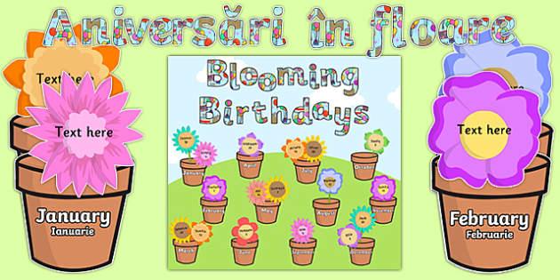 Blooming Birthdays Flower Display Pack Romanian Translation-Romanian-translation