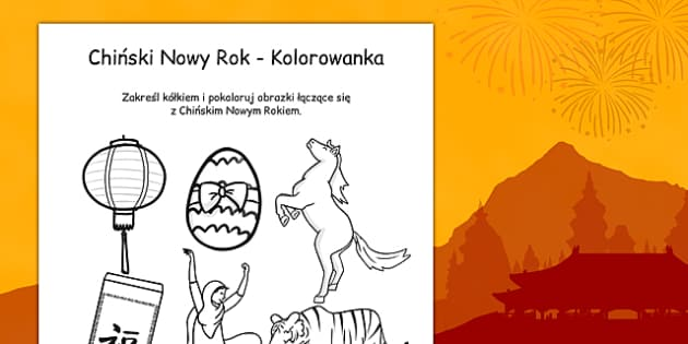 Chinese New Year Colouring Activity Polish - polish, royal, afternoon tea, role play, colouring, activity