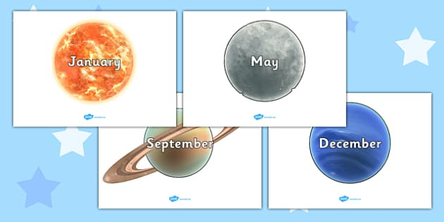 Months of the Year on Space Images - Space, Weeks poster, Months display, display, poster, frieze, Days of the week, moon, sun, earth, mars, ship, rocket, alien, launch, stars, planet, planets