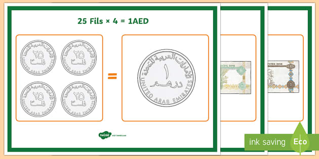 UAE Money Equivalent Values Display Posters - Money, UAE, Dirhams, coins, notes, pay, change, posters, display, equivalent.