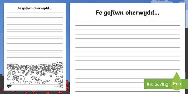 Dydd y Cofio  Fe Gofiwn Oherwydd... Taflen Ysgrifennu