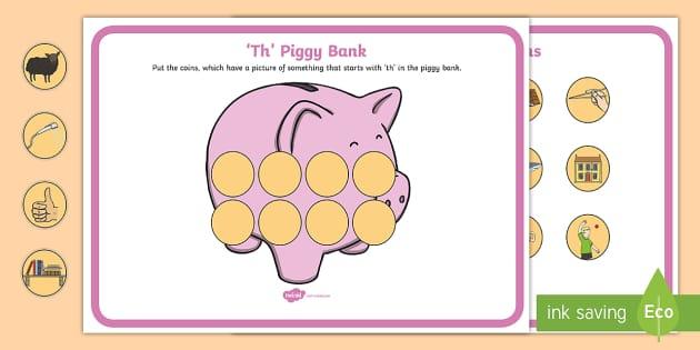 Th Phonics Piggy Bank Activity - th, phonics, piggy bank, activity