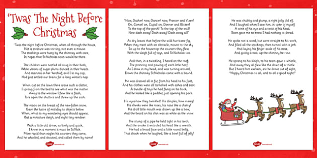 Twas The Night Before Christmas Lyric Sheet - twas the night before christmas, lyrics, sheet
