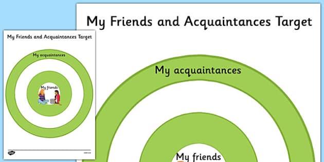 KS3 My Friends and Acquaintances Target - relationships, SEN, behaviour, positive, negative, activity, secondary, support