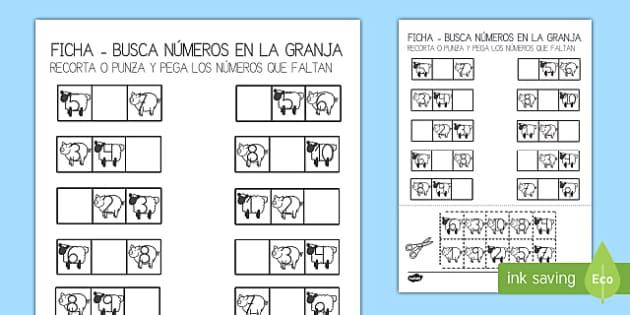 En la granja Ficha de buscar números-Spanish