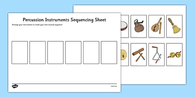 Percussion Instruments Sequencing Sheet - Percussion, instruments, sequence, plan, rhythm, order