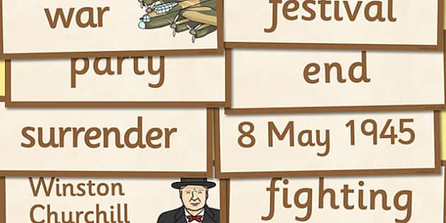 VE Day Word Cards - ve day, word cards, victory, europe, cards