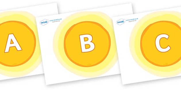 A-Z Alphabet on Glowing Suns - A-Z, A4, display, Alphabet frieze, Display letters, Letter posters, A-Z letters, Alphabet flashcards